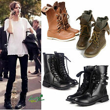 LADIES CALF HIGH BOOTS GIRLS WOMENS BIKER BOOT LACE UP CASUAL ARMY COMBAT SHOES