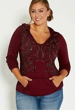 0X, 1X, 2X, maurices *Rhinestones* HOODIE plus Size Womens, Red, Gothic, Sweater