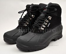 LABO Men's Black Winter Snow Boots Shoes Genuine Leather Waterproof Insulate103A
