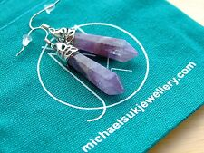 Amethyst Gemstone Earrings Natural Quartz Crystal Chakra Healing Stone Reiki