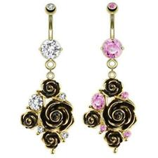 AF Surgical steel Belly button piercing 14 carat gold-plated Black Rose and