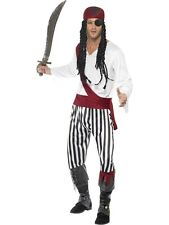 ADULT MENS CARIBBEAN PIRATE MAN COSTUME SMIFFYS BUCCANEER FANCY DRESS - 2 SIZES