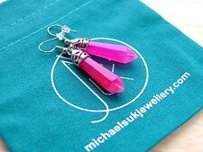 Fuchsia Agate Gemstone Earrings Natural Quartz Crystal Chakra Healing Stone