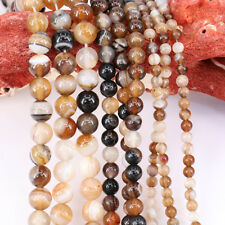 1Pc Fashion Coffee Stripes Agate Round Loose Bead Pendant Necklace Jewelrys