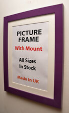 Purple Picture Frame with Mount,Choice of Ivory,Black or White Mount. photoframe