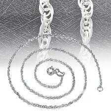 """Solid 925 Sterling Silver Singapore Twist Wave Chain Necklace Italy 16""""-18"""" ZK"""