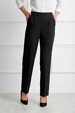 NEW WOMENS LADIES HALF ELASTICATED TROUSERS OFFICE WORK BLACK PLUS SIZE 10 - 30