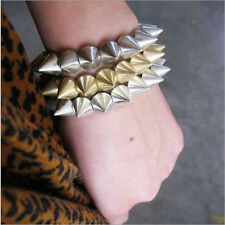 Female's Chic Cool Punk Rock Gothic Rock Rivet Stud Spike Rivet Stretch Bangle