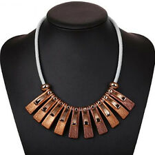 1PC Irregular box Hot Necklace  Clavicle Chain Pendant  Geometry  Leather Rope
