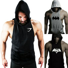 Pro Bargain Logo Men Fitness Sleeveless Muscle Fit Hoodies Hooded Tank Top Vest