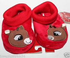 Rudolph NWT Girl's Boy's Infant Red Christmas Slippers w/ Sock Top - 0-12 mo.
