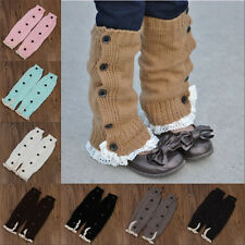 Girls Children Trendy Knitted Button Lace Leg Warmers Trim Boot Cuffs Socks g6