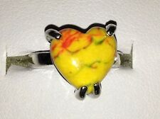 New Natural Heart Cut Candy Coloured Marble Effect Veined Agate Stone Ring