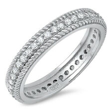 Sterling Silver 925 CZ Vintage Antique Women's Eternity Wedding Band Ring 5-10