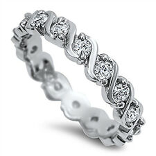 Sterling Silver 925 CZ Infinity Women's Eternity Wedding Band Ring Size 5-10