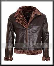 Mens B3 Bomber Ginger Fur Leather Jet Fighter Pilot Aviator WWII Flying Jacket