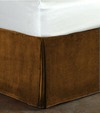 """New Queen Size 15""""Drop 100% Cotton Velvet Bedskirt/Valance Box Pleated-Choco"""
