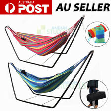 Double Cotton Fabric Hammock Steel Frame Stand Combo Swing Chair Home Outdoor AU