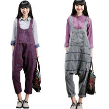Women's Casual Sleeveless Wide Leg Jumpsuits Rompers Overalls Purple Blue Gray