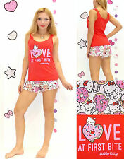 NWT Sanrio Hello Kitty 'LOVE at First Bite' Top and Shorts Pajama Set S,M,L,XL