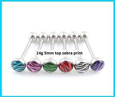 NEW Zebra Colorful Ball Tongue Nipple Bar Ring Barbell Body Jewelry Piercing