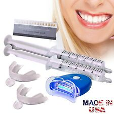 Teeth Whitening Gel Kit Tooth Whitener LED White Light + Trays USA Made Product