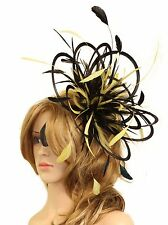 Black & Yellow Fascinator hat/choose any colour satin/ feathers