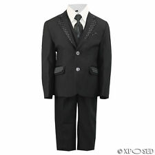 New Kids Page Boys 3 Piece Black Suit Wedding Party Smart Formal Age 2 - 12 Year