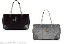 new JUICY COUTURE velour QUILTED STEFFY DUFFLE bag hobo medium purse BLACK GRAY