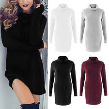 Sexy Womens Winter Autumn Long Sleeve Knit Party Turtleneck Sweater Mini Dress