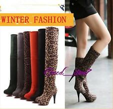 New Woman Over The Knee Boots Stretch Knee High Boots High-heeled Shoes Pumps G