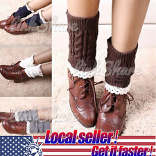 TX LOCAL Womens Crochet Knit Lace Trim Leg Warmers Cuffs Toppers Boot Socks