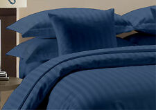 800 TC Navy Blue Striped-Duvet/Fitted/Sheet Set/Pillow Egyptian Cotton All Size