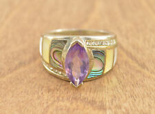 Multi-Stone Accented Marquise Purple Stone Ring Size 9 Sterling Silver