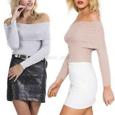 Autumn Sexy Women Off Shoulder Knitwear Crop Knitted Sweater Jumper Pullover Top