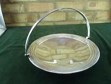 Lovely Vintage Barker Bros pedestal serving tray bowl Silver plated with handle