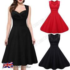 Womens Vintage 1940s 1950s 60s Dress Style V Neck Rockabilly Party Swing Dresses