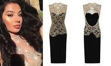 CELEB BLACK GOLD SPARKLE SLINKY BACKLESS MIDI EVENING PARTY COCKTAIL DRESS 6 -18