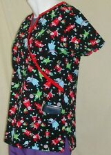 NWT WS Gear by White Swan Holiday Scrub Top: Elves, Black, XS, M, L, 100% Cotton