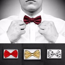 Unisex Classic Formal Butterfly Solid Pre-tied Bow tie Bowtie Wedding Party Prom