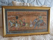 Indian hand painted silk painting framed