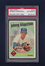 Johnny Klippstein signed Los Angeles Dodgers 1959 Topps card Psa authenticated