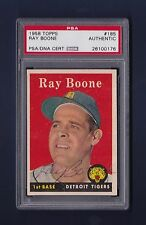 Ray Boone signed Detroit Tigers 1958 Topps card Psa authenticated