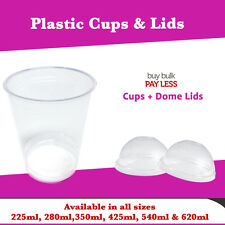 100 Pc Disposable Plastic Clear Cups with Dome Lids Party Cups Bulk Cheap