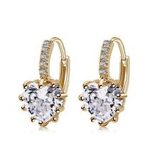 Fashion Women Lady Girls Love Heart Rhinestone Ear Stud Golden Earrings New X7Q4