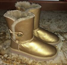 UGG Bailey Rhinestone Button Gold Shearling Lined Ankle Boots NEW Womens Sz 7 8