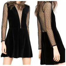 Women Sexy Lace Long Sleeve Perspective Deep V-Neck Black Clubwear Mini Dress e