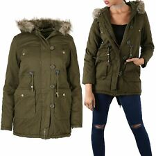 Womens Ladies Parka Military Long Fishtail Hoded Faux Fur Brave Soul Coat Jacket