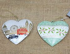 Gisela Graham Hanging Tin Heart Christmas Tree Decoration London Scene