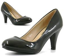 WOMENS LADIES MID HEEL SMART PARTY BASIC WORK COURT SHOES PUMPS SIZE